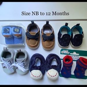 Newborn to 12 month Shoes 6 Pair
